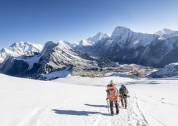 Woman mountaineer & climbing sirdar descend Mera Peak, Everest in view